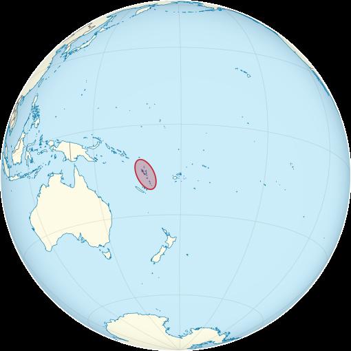 Vanuatu on the globe